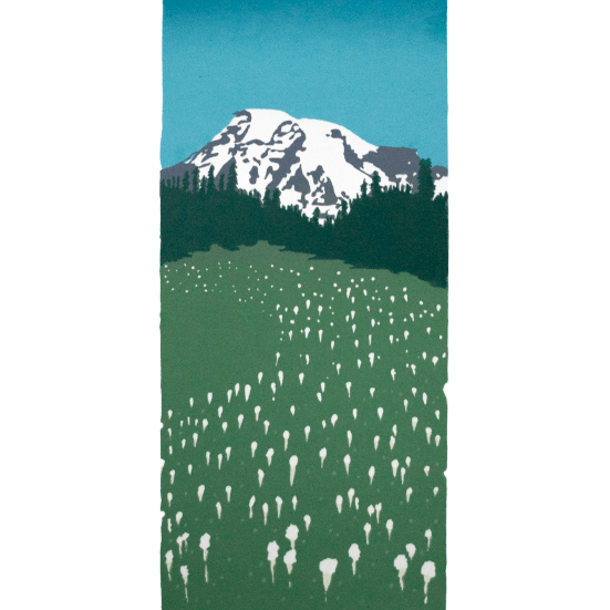 Mount Rainier with a field of bear grass flowers in the forground