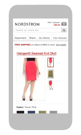the homepage of the nordstrom mobile website