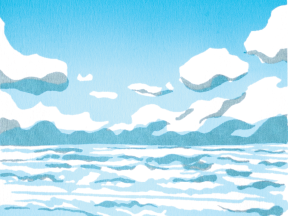 thumbnail of a screenprint poster of a beach