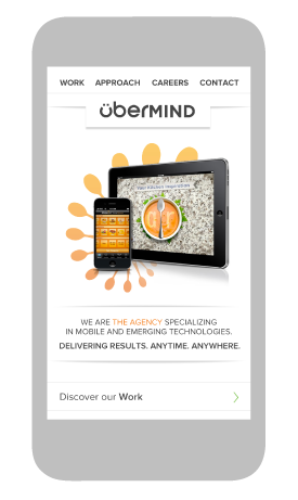 webdesign of the home page of the übermind mobile website