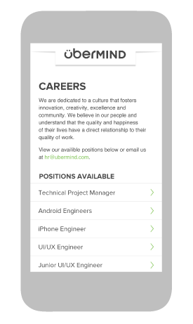 webdesign of the careers page of the übermind mobile website