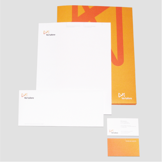 letterhead, folder, and business cards in the Vertafore brand