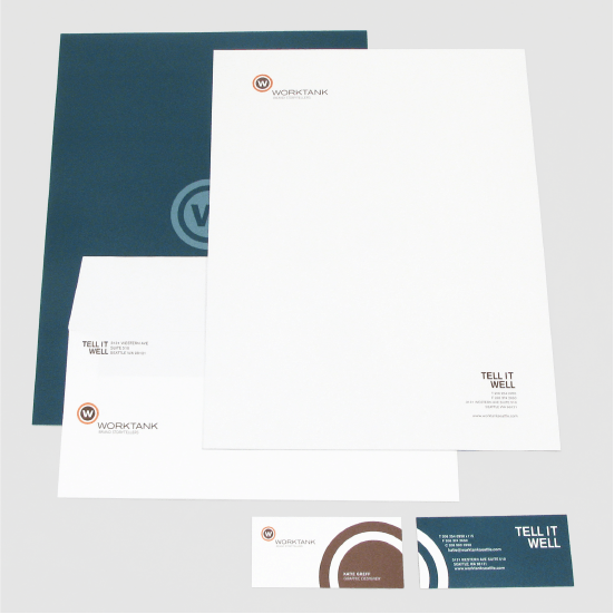 Letterhead, envelope, and business cards in the Worktank brand